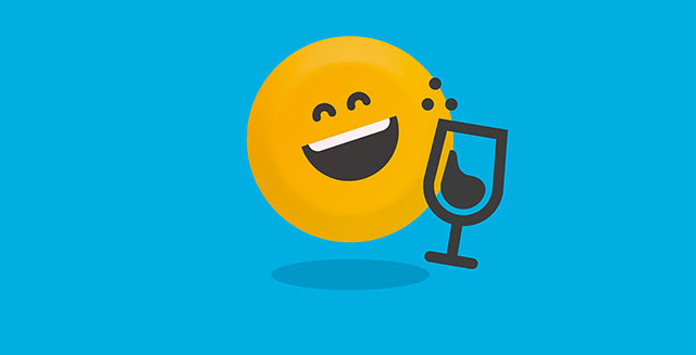 Laughing face emoji icon with glass of drink